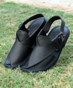 Plain Black Closed Toe Style Peshawari Sandal AK-2739