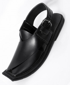 Black Leather Handcrafted Charsadda Peshawari Chappal HCL-012