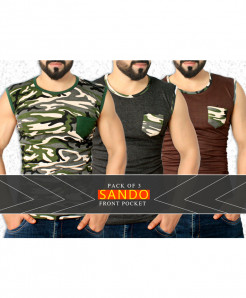 Pack Of 3 Front Pocket Stylish Sando FSW-828