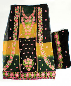Black Dual Shaded Embroidered Unstitched Suit NMS-104