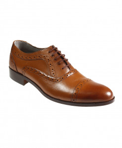 Mustard Leather Dotted Design Formal Shoes FIL-T23
