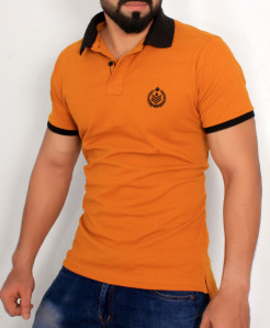 Mustard Black Stylish Polo Shirt QZS-137
