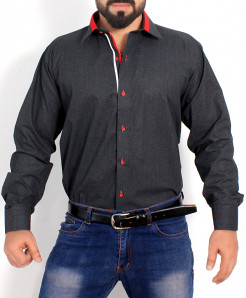 Charcoal Textured Cotton Shirt PSM-019