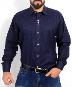Navy Blue Textured Cotton Shirt PSM-020