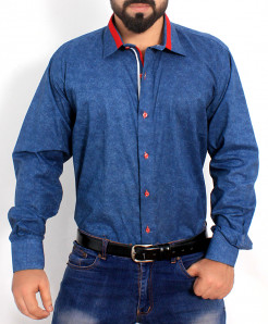 Blue Textured Cotton Shirt PSM-021