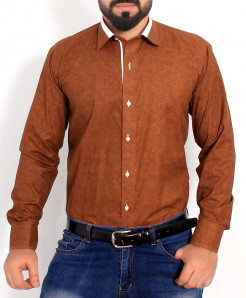 Brown Textured Cotton Shirt PSM-022