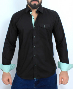 Black Stylish Cotton Formal Shirt FW-40
