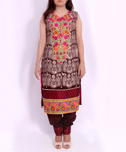 Maroon Multicolor Embroidered Stylish Suit OM-5140