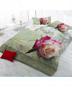 5D Green Floral Cotton Satin Bedsheet RB-2070