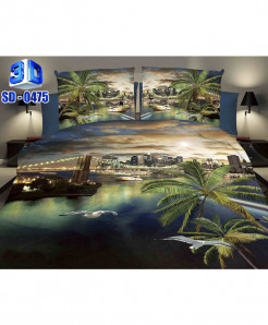 3D City Scenery Stylish Cotton Bedsheet SD-0475