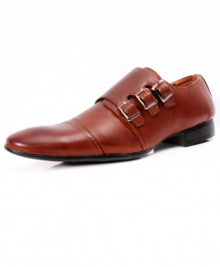 Brown Tri-Strap Buckle Stylish Formal Shoes LW-7064