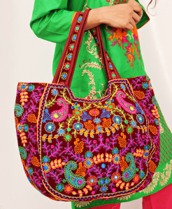 Maroon Aari Embroidered Trendy Ladies Handbag VL-719