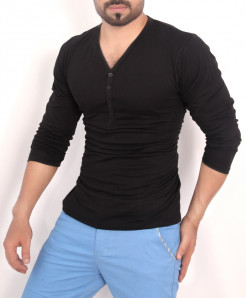 Black 4 Button V Neck T-Shirt QZS-158