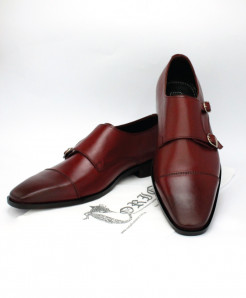 Corio Burgundy Leather Double Monk Style Shoes CSR-101377
