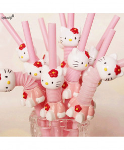 KeyThemeLife 5PCS Hello Kitty Cute Plastic Drinking Straw