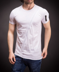 White Round Neck Sleeve Pocket Designer Tee FS-467