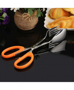 Scissors Fork Designed Stainless Steel Barbecue Tongs