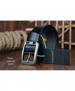 COWATHER Black cowhide genuine leather belts ARLB-002