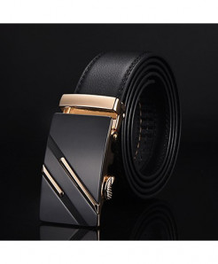 Designer Golden-Black Cow Leather Strap Belt ARBR-NE305