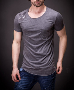 Charcoal Round Neck Pocket Style Designer Tee FS-478