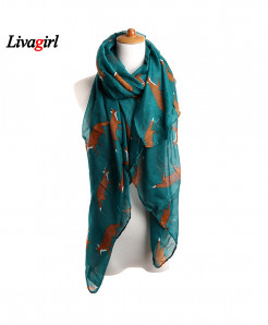 Fashion Women Vintage Fox Animal Print Scarf