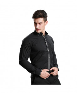 Black Slim Fit Tuxedo Shirt AT-682