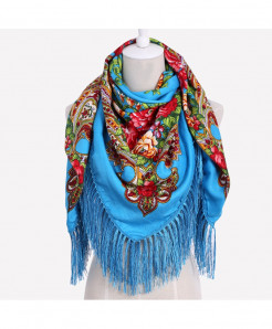 Big Size Square Scarf Cotton Long Tassel Print Floral Scarf