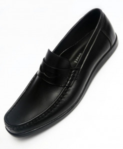 Black Leather Stylish Casual Shoes LC-09