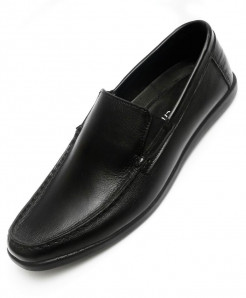 Black Leather Stylish Casual Shoes LC-010
