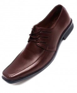 Brown Leather Lace Up Formal Shoes LC-510