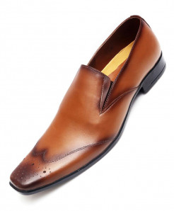 Mustard Brown Leather Formal Shoes LC-5124