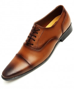Mustard Brown Leather Formal Shoes LC-512