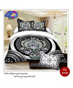 4D Blackish White Cotton Satin Bedsheet RB-0110