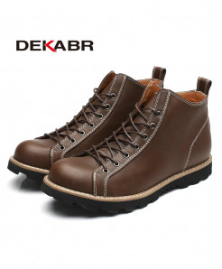 DEKABR Dark Brown Waterproof Genuine Leather Mens Boots