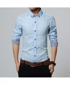 Light Blue Slim Fit Men Long Sleeve Plaid Cotton Shirt