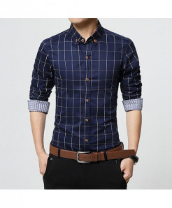 Dark Blue Slim Fit Men Long Sleeve Plaid Cotton Shirt