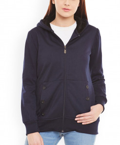 Navy Blue Buttoned Pocket Fleece Pullover ARF-727