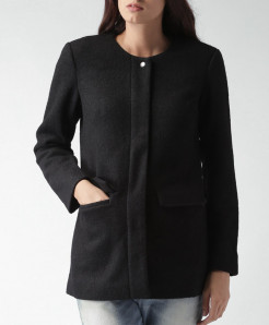 Black Flap Pocket Fleece Ladies Coat ARF-728