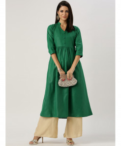 Dew Green Frock Style Ladies Cotton Kurti ALK-820