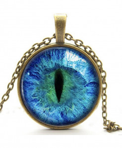 Blue Cats Eye Necklace Glowing Eye Glow in the DARK Pendant