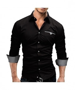Camisa Black Slim Fit Casual Shirt AT-572