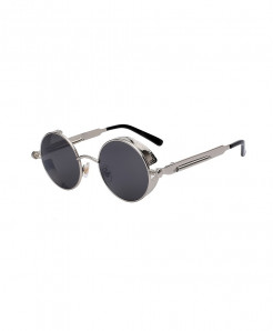 XIU Black Round Metal Steampunk Designer Sunglasses AT-482