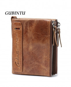 GUBINTU Genuine Crazy Horse Leather Men Wallet
