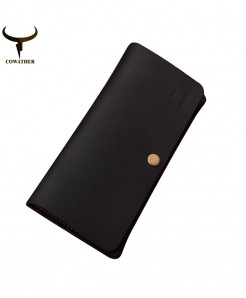 COWATHER Black horse leather luxury men wallets AT-091