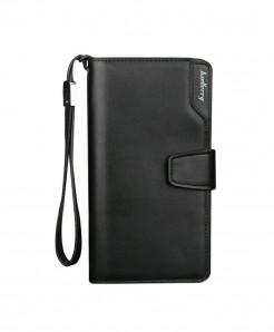 Baellerry Black Long Leather Zipper Business Wallet