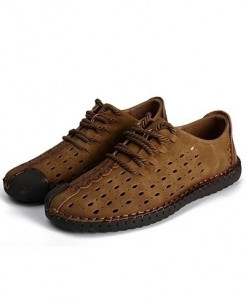 Times New Roman Choco Brown Laces Loafers AT-478