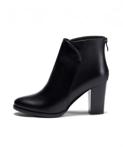 Meotina Black Leather High Heel Zip Handmade Ladies Boots