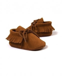 Suede Leather First Walkers Fringe Soft Soled Non-Slip Shoes AT-924