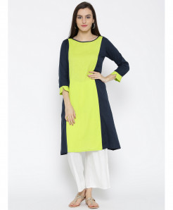 Navy Lemon Round Neck Style Ladies Kurti ALK-833