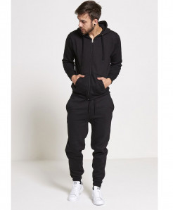 Black Plain Fleece Tracksuit SPK-001